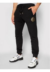 Versace Jeans Couture Spodnie dresowe Emblem Foil 71GAAT03 Czarny Regular Fit. Kolor: czarny. Materiał: dresówka