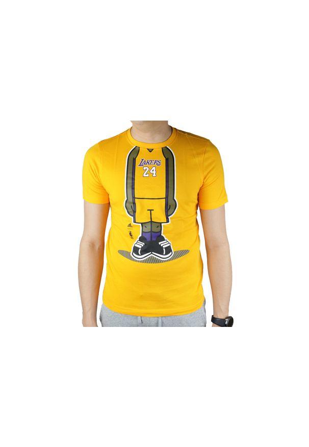 Żółty t-shirt Adidas w kolorowe wzory