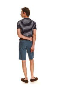 Niebieski t-shirt TOP SECRET polo, elegancki, z krótkim rękawem
