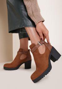 Renee - Camelowe Botki Hyrielle. Nosek buta: okrągły. Zapięcie: pasek. Szerokość cholewki: normalna. Wzór: jednolity. Sezon: jesień. Obcas: na obcasie. Wysokość obcasa: średni