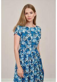 Marie Zélie - Sukienka Melania Blua. Materiał: wiskoza, skóra. Długość rękawa: krótki rękaw. Sezon: lato