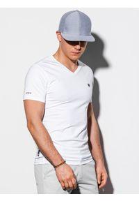Ombre Clothing - T-shirt męski bez nadruku S1183 - biały - XXL. Typ kołnierza: dekolt w serek. Kolor: biały. Materiał: bawełna, elastan. Styl: klasyczny
