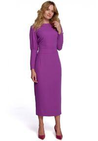 Makover - Elegancka ołówkowa sukienka 7/8 z odkrytymi plecami. Typ sukienki: ołówkowe. Styl: elegancki