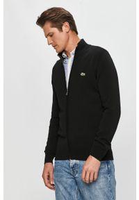 Czarny sweter rozpinany Lacoste na co dzień, casualowy