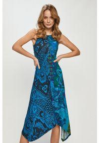 Niebieska sukienka Desigual casualowa, bez rękawów
