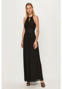 Czarna sukienka Vila na ramiączkach, rozkloszowana, maxi