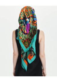 LOVLI SILK - Duża jedwabna chusta gepard #NO.8. Kolor: zielony. Materiał: jedwab. Wzór: kolorowy
