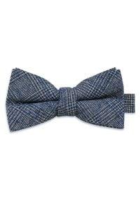 Szara muszka EM Men's Accessories w kratkę, elegancka
