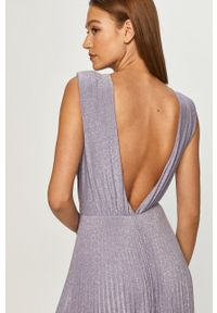 Fioletowa sukienka Elisabetta Franchi maxi, bez rękawów, rozkloszowana