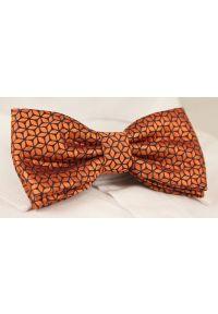 Pomarańczowa muszka Alties sportowa, w geometryczne wzory
