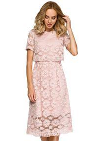 MOE - Koktajlowa wieczorowa koronkowa sukienka. Okazja: na wesele, na ślub cywilny. Materiał: koronka. Wzór: kwiaty, koronka. Styl: wizytowy