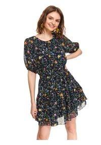 TOP SECRET - Printowana sukienka z falbanką. Kolor: niebieski. Długość rękawa: krótki rękaw. Sezon: lato. Typ sukienki: rozkloszowane. Długość: mini
