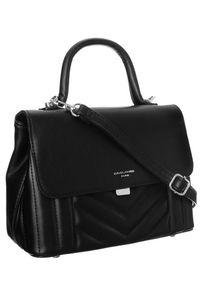 Czarna torebka DAVID JONES elegancka, skórzana, w geometryczne wzory