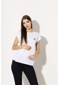 Biały t-shirt Edward Orlovski elegancki, z haftami