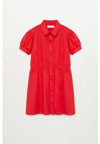 Czerwona sukienka Mango Kids z krótkim rękawem, rozkloszowana