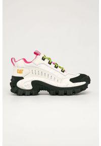 Białe buty sportowe CATerpillar na sznurówki, z okrągłym noskiem, na obcasie, z cholewką