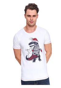 Biały t-shirt TOP SECRET wizytowy, z klasycznym kołnierzykiem, z nadrukiem, na co dzień