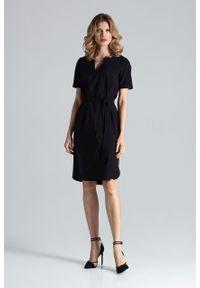 e-margeritka - Sukienka ołówkowa do biura czarna - l. Okazja: do pracy, na spotkanie biznesowe. Kolor: czarny. Materiał: poliester, materiał, elastan. Typ sukienki: ołówkowe. Styl: biznesowy. Długość: midi