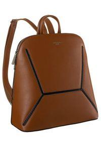 DAVID JONES - Plecak damski koniakowy David Jones 6261-2 COGNAC. Materiał: skóra ekologiczna