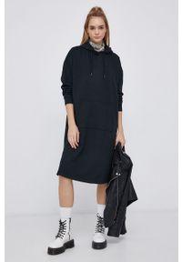 only - Only - Sukienka. Typ kołnierza: kaptur. Kolor: czarny. Materiał: bawełna, dzianina