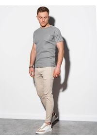 Szary t-shirt Ombre Clothing klasyczny