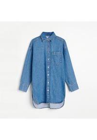 Reserved - Długa jeansowa koszula - Niebieski. Kolor: niebieski. Materiał: jeans. Długość: długie
