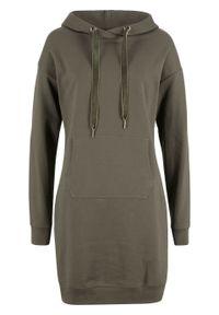 Sukienka dresowa z kapturem bonprix ciemnooliwkowy. Typ kołnierza: kaptur. Kolor: zielony. Materiał: dresówka