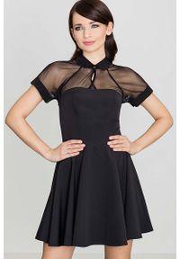 Czarna sukienka Katrus z krótkim rękawem