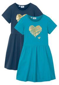 Sukienka dziewczęca z dżerseju, krótki rękaw (2 szt.) bonprix ciemnoniebieski + turkusowy. Kolor: niebieski. Materiał: jersey. Długość rękawa: krótki rękaw. Wzór: nadruk