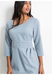 Sukienka ołówkowa, krótki rękaw bonprix niebieski dymny. Kolor: fioletowy. Długość rękawa: krótki rękaw. Typ sukienki: ołówkowe. Styl: elegancki
