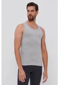 United Colors of Benetton - T-shirt. Kolor: szary. Materiał: dzianina. Długość: długie