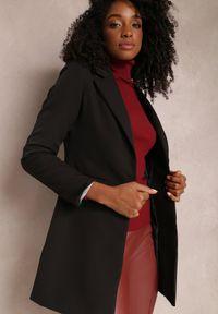 Renee - Czarna Marynarka Iseope. Kolor: czarny. Materiał: tkanina. Długość: długie. Wzór: jednolity. Styl: elegancki #2