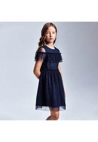 Mayoral Sukienka elegancka 6923 Granatowy Regular Fit. Kolor: niebieski. Styl: elegancki