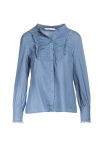 Renee - Niebieska Koszula Arrishi. Okazja: na co dzień. Typ kołnierza: kołnierzyk stójkowy. Kolor: niebieski. Materiał: jeans, materiał. Długość rękawa: długi rękaw. Długość: długie. Wzór: aplikacja. Styl: elegancki, casual