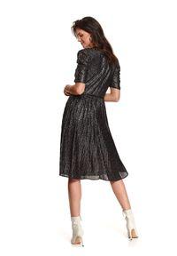 Czarna sukienka TOP SECRET koszulowa, w kropki