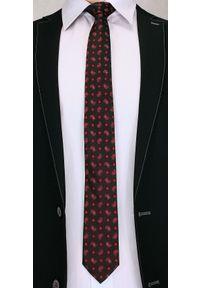 Męski Krawat, Czerwony Wzór PAISLEY - 6 cm - Angelo di Monti, Ciemnoczerwony. Kolor: czerwony. Wzór: paisley