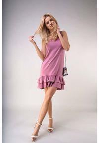 Różowa sukienka wizytowa Nommo z falbankami, bez rękawów