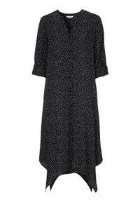 Cellbes Kropkowana sukienka w kropki female ze wzorem 46/48. Typ kołnierza: dekolt w serek, kołnierzyk stójkowy. Długość rękawa: długi rękaw. Wzór: kropki. Typ sukienki: asymetryczne