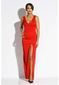 Dursi - Czerwona Sukienka Wieczorowa Maxi z Długim Rozcięciem. Kolor: czerwony. Materiał: poliester, elastan. Styl: wizytowy. Długość: maxi