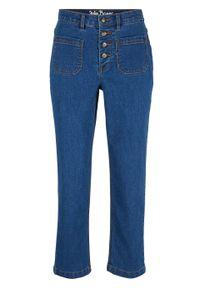 Dżinsy 7/8 High Waist ze stretchem bonprix niebieski. Stan: podwyższony. Kolor: niebieski