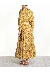 ZIMMERMANN - Rozkloszowana spódnica w cętki Carnaby. Kolor: żółty. Materiał: bawełna. Wzór: motyw zwierzęcy, aplikacja