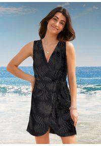 Sukienka plażowa z założeniem kopertowym bonprix czarny. Okazja: na plażę. Kolor: czarny. Typ sukienki: kopertowe