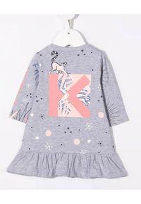Kenzo kids - KENZO KIDS - Szara sukienka z graficznymi nadrukami 0-4 lat. Kolor: szary. Materiał: bawełna. Długość rękawa: długi rękaw. Wzór: nadruk. Sezon: lato