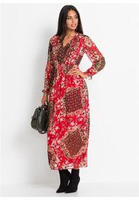 Długa sukienka z nadrukiem bonprix czerwony z nadrukiem. Kolor: czerwony. Wzór: nadruk. Sezon: lato. Długość: maxi