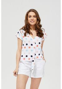 Biała koszula MOODO z krótkim rękawem, w grochy, krótka