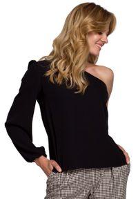 Czarna bluzka z długim rękawem MOE wizytowa