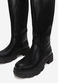 Born2be - Czarne Kozaki Neamenea. Nosek buta: okrągły. Kolor: czarny. Materiał: jeans, dzianina, prążkowany. Szerokość cholewki: szeroka
