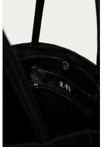 Czarna shopperka Answear Lab skórzana, na ramię, wakacyjna, duża