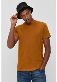 !SOLID - T-shirt bawełniany. Okazja: na co dzień. Kolor: brązowy. Materiał: bawełna. Wzór: gładki. Styl: casual