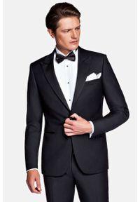 Lancerto - Smoking Czarny Lincoln. Kolor: czarny. Materiał: skóra, wełna, tkanina, lakier, poliester. Wzór: gładki